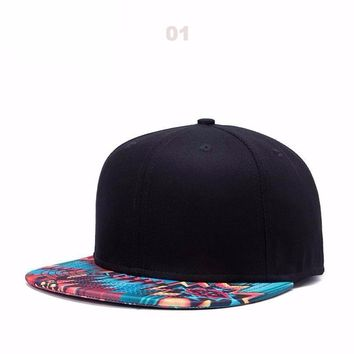 New Mens Unique Tropical Floral Colorful and Black Flat Brim Snapbacks Hats