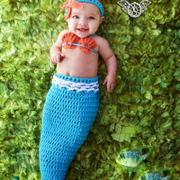 Crochet Mermaid Tail, Photo Prop Set - 3 -6 months - Photography Prop, Cocoon