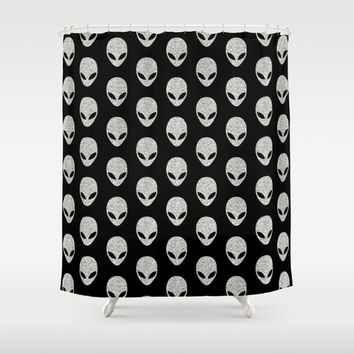 Glitter Grey Aliens Shower Curtain by Octavia Soldani