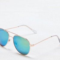 AEO Women's Aqua Mirrored Aviator Sunglasses (Rose Gold)