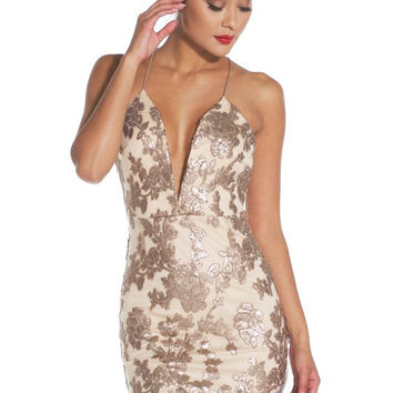FLORAL MESH SEQUIN DRESS - Mocha