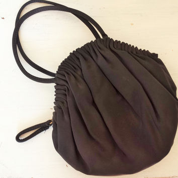 Vintage 1940s Black Faille Purse, Peach Satin Lining