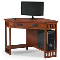 Oak Wood Finish Corner Computer And Writing Desk For Home Office