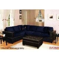 2 pcs Microfiber Sectional Sofa Set with Accent Pillows in Navy