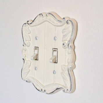 Shabby Chic White Cast Iron Switch Plate Light Switch Cover