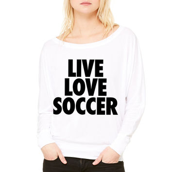 Live Love Soccer WOMEN'S FLOWY LONG SLEEVE OFF SHOULDER TEE
