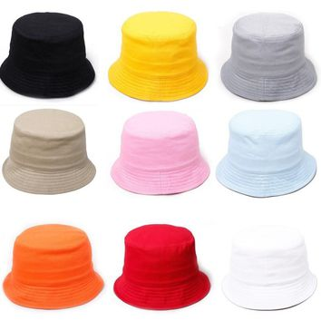 Summer Spring Kids Cotton Bucket Hat Unisex Boys Girls Flat Fishermen Cap Children Hiking Camping Beach Sun Hats Fishing Bonnet