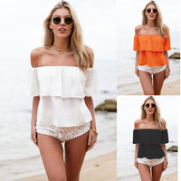 2016 Trending Fashion Chiffon Sexy Women Low Cut Boat Neck Off Shoulder Erotic Top Shirt _ 1943