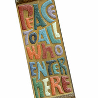 "Vintage 60s 70s ""Peace to All Who Enter Here"" Mezuzah 