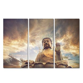 3 Piece Buddha Meditation Canvas Art Wall Pictures For Living Room Modern Posters and Prints Cuadros Decoracion Paintings 2017