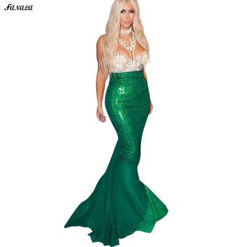 FANALA Women Fish Tail Mermaid Skirt High Waist Sequins Skirts Asymmetrical Fish Tail Trumpet Long Maxi Skirt for Party