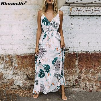 HimanJie Vintage summer dress women sundress Hollow out boho floral print maxi dress 2017 beach dress Strappy vestidos de festa