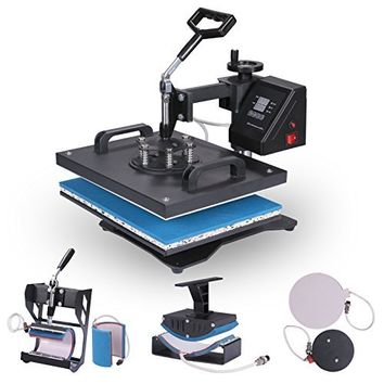 ShareProfit Heat Presses Digital Swing away Hat Press 8 in 1 Multifunction Sublimation Heat Press Machine for T Shirts Mug Cap (8 IN 1)