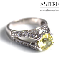 Yellow ring, Annieversary ring, Stacking ring, yellow stone,Silver Stacking ring, CZ ring