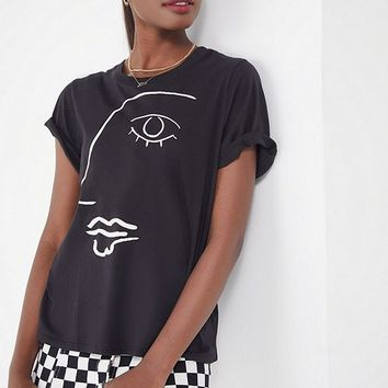 Truly Madly Deeply Sketch Face Tee | Urban Outfitters