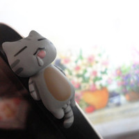Cute Grey Cat laying Dust Plug - IPhone & earphone dust plug - Cellphone Accessories