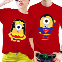 NSC-Superman and Wonder Women Minion Couples Matching Shirts, Couples T Shirts, Funny Couple Shirts