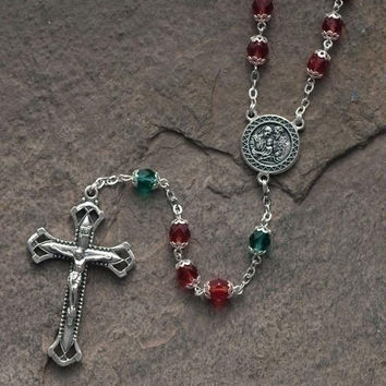 2 Glass Bead Rosary - Rosaries Feature Alternating Red And Green Glass Beads,a Silver Tone Crucifix,and A Medallion Depicting The Holy Family