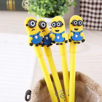 DCCKL72 (1Pcs/Sell) 0.5mm Cute Candy Color Minions Gel Ink Pen Maker Pen School Office Supply Escolar Papelaria kawaii