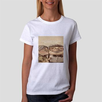 Classic Women Tshirt Disney Pixar Up Carl And Ellie Drawing With Quote