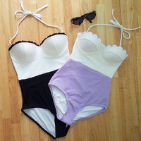Retro One Piece Bikini Set Beach Swimsuit Gift 96