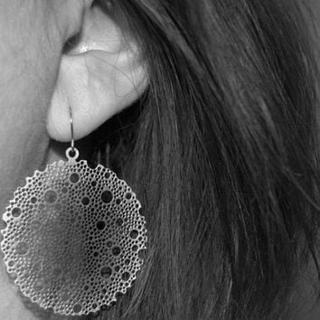 round filigree earrings, dangle hoops, silver circle earrings,