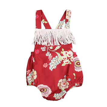 Newborn Baby Girls Cotton Lace Tassel Back Cross Jumpsuit Floral Romper Outfits Sun-suit Clothing