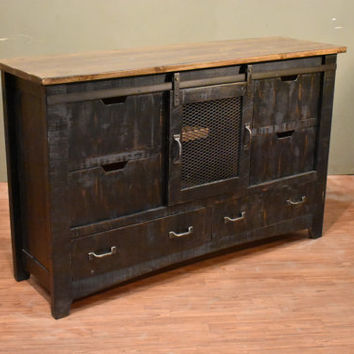 Rustic Solid Reclaimed wood Distressed Black Dresser / Sideboard / Chest Of Drawers stand / Console Table / Sideboard