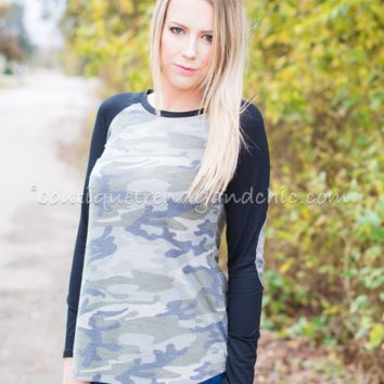 ON TREND CAMO TOP- Only 2 Smalls Left!