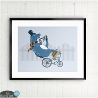 Tandem - matted art print.-5x7 or 8x10.  T-rex riding tandem with top hat and tea as turtle toils.