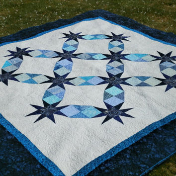Queen size Quilt Blue and White Stars 88 x 88 inches