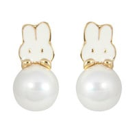 CHIC! Happy Pearl Bunny Stud Clip On Earrings