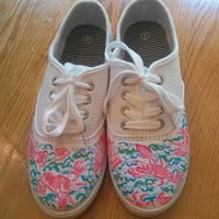 "Hand Painted Lilly Pulitzer Inspired Laced Sneakers ""Lobstah Roll"""