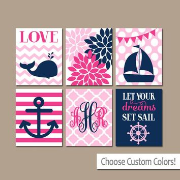 Girl Nautical Wall Art, Nautical Nursery Decor, Canvas or Prints, Whale Sailboat Anchor Decor, Ocean Coastal Baby Girl, Set of 6 Pictures