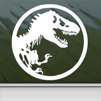Jurassic Park White Sticker Decal T-Rex Dinosaur Tyrannosaur White Car Window Wall Macbook Notebook Laptop Sticker Decal