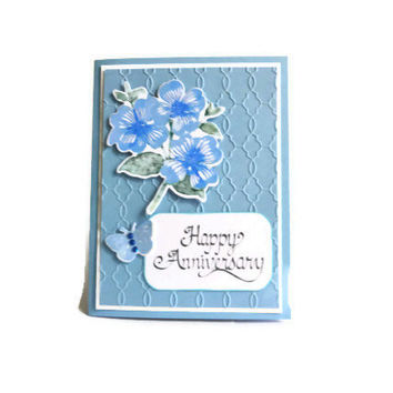 Blue Flower Anniversary Card