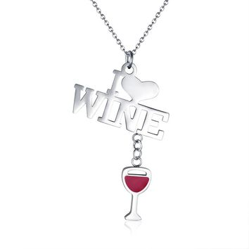 I LOVE WINE Necklace Pendant
