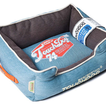Touchdog Original Sporty Vintage Throwback Reversible Plush Rectangular Dog Bed: Large