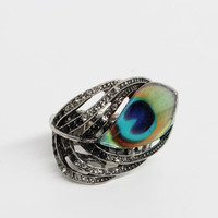 Rhinestone Peacock Ring