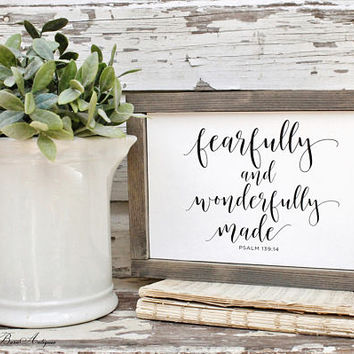 Fearfully And Wonderfully Made Farmhouse Sign Wood Framed Bible Verse Hymnal Art Print Farmhouse Decor Scripture Fixer Upper Decor Salvaged
