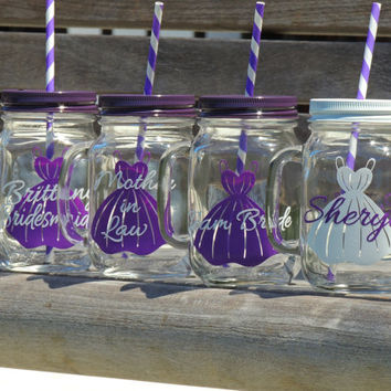 fall wedding mason mugs, glass mason mug, personalized mug, purple mason mugs, plum bridesmaid dress, bridal party mug, maid of honor