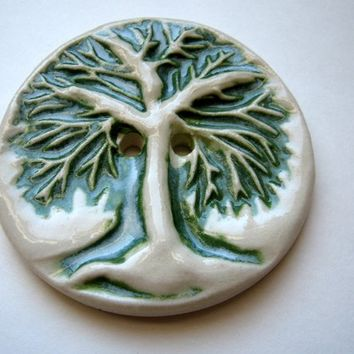 green tree button,clay art button,large clay button,tree branches green,stoneware button,tree life button,sculpture button,pottery button,