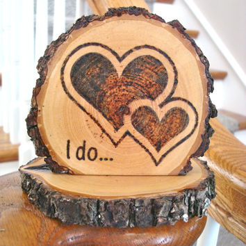 Rustic Wedding Cake Topper Wood Slice Burned Hearts I Do