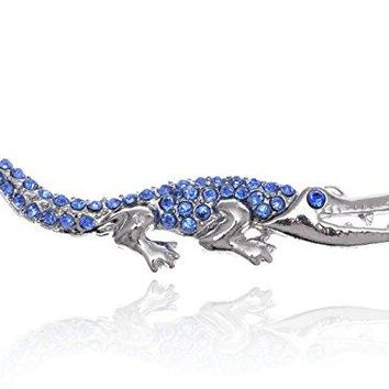 Alilang Sapphire Blue Rhinestone Shiny Silvery Tone Crocodile Alligator Animal Pin Brooch