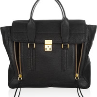 3.1 Phillip Lim - The Pashli large shark-effect leather trapeze bag