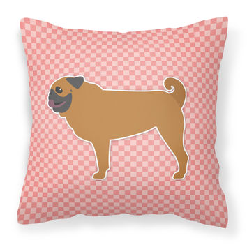 Pug Checkerboard Pink Fabric Decorative Pillow BB3647PW1818