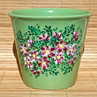 Hand Painted Flowerpot With Red And White Flowers