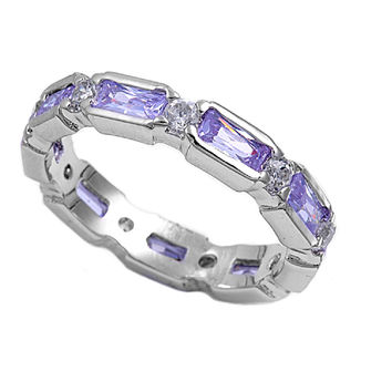 925 Sterling Silver CZ Eternity Links Lavender Ring 12MM