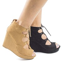 Parker43S By Bamboo, Peep Toe Corset Lace Up Platform High Heel Wedge Sandals