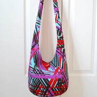 Hobo Bag, Geometric, Sling Bag, Modern, Red, Brown, Purple, Hippie Purse, Crossbody Bag